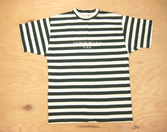 007fffeb 1990s Guess Jeans U.S.A. Tee Vintage Retro by Georges Marciano Green  Striped 90s 100% Cotton Embroidered Crewneck T-Shirt Oversized (S) M/L