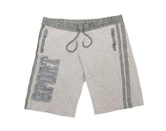 85f6ad582d 1990s D&G Sport Spellout Athletic Shorts Vintage Retro Dolce Gabbana  Designer Grey Cotton Jersey Knit w/ Satin Trim (48) M/Medium/L/Large