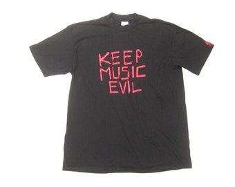 "911b0d38 1980s Fatima Mansions Tee Vintage Retro 80s Black Cotton ""Keep Music Evil""  Art Rock Band Promo Concert Graphic T-Shirt XL Tall"
