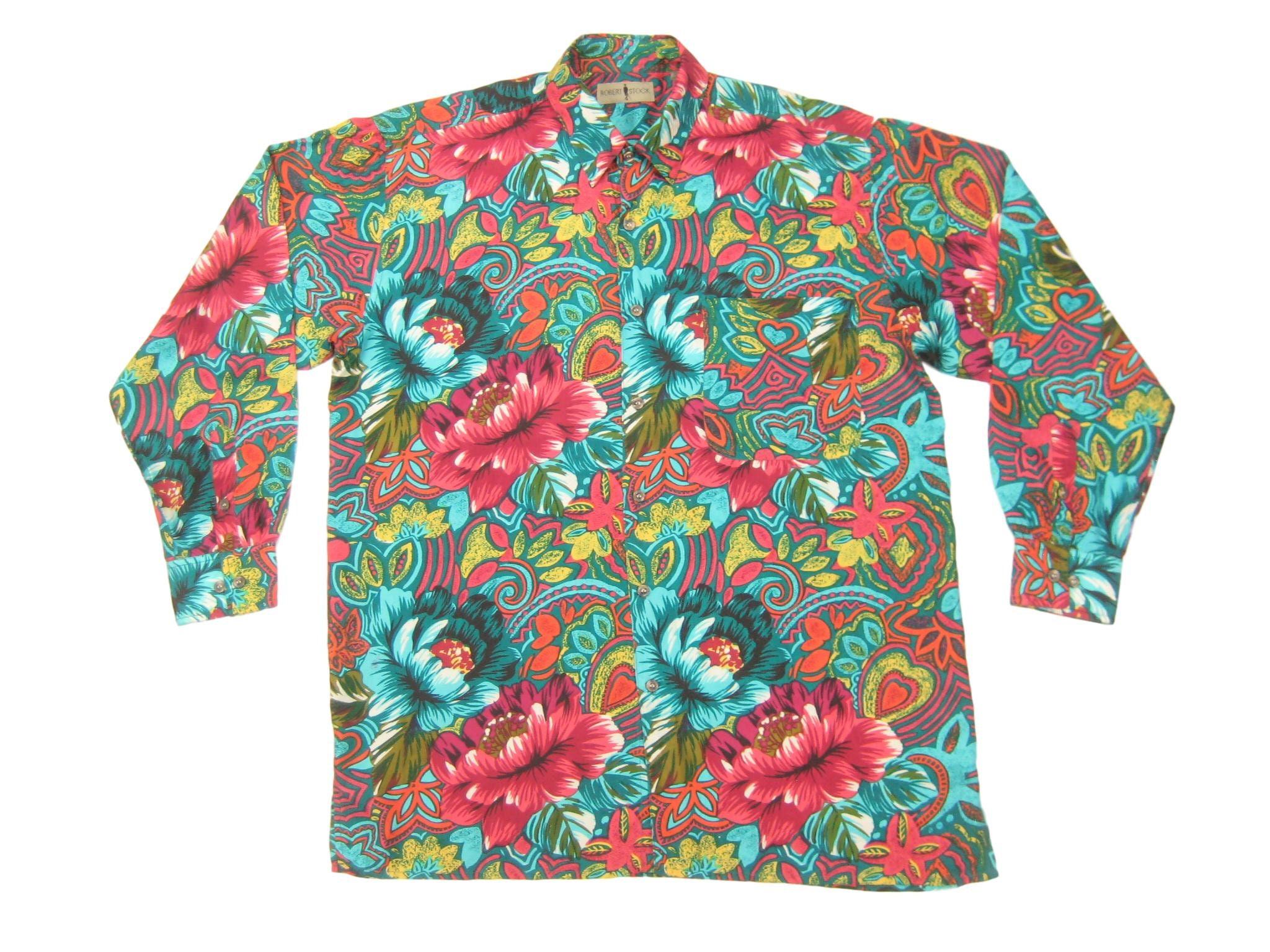 1990s Robert Stock Silk Print Shirt Vintage Retro 90s Floral Etsy