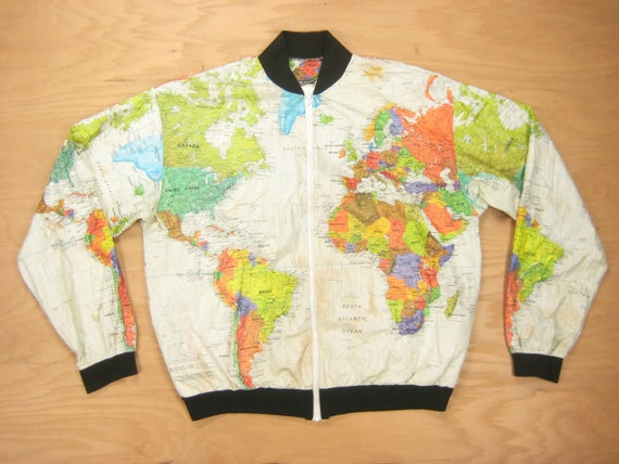 1991 Kurt Cobain World Map Jacket Vintage Retro Men's Wearin' The World  Tyvek Paper Graphic All Over Print Zip Bomber XL