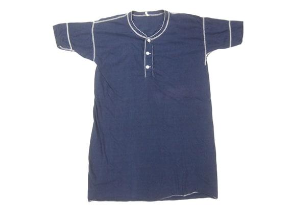 1960s Henley Shirt Vintage Retro Men's Navy Blue C