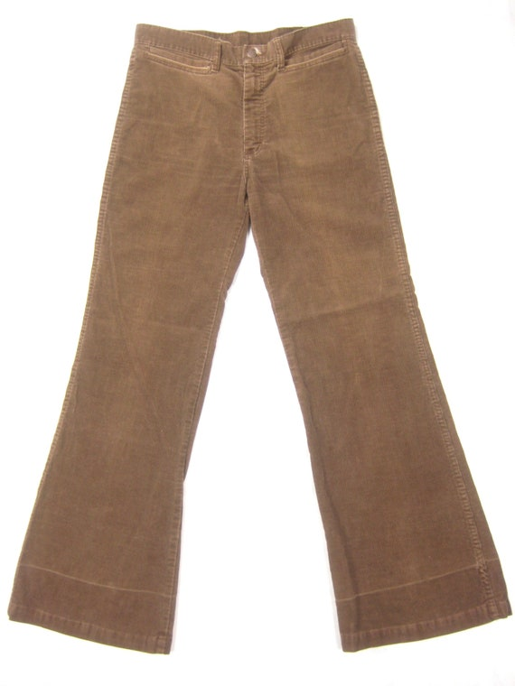 1970s Dittos Mens Bellbottom Cords Vintage Retro 70s Brown Made in USA Flare Leg Corduroy Surf Skate Hippie Jeans Pants 34 x 32