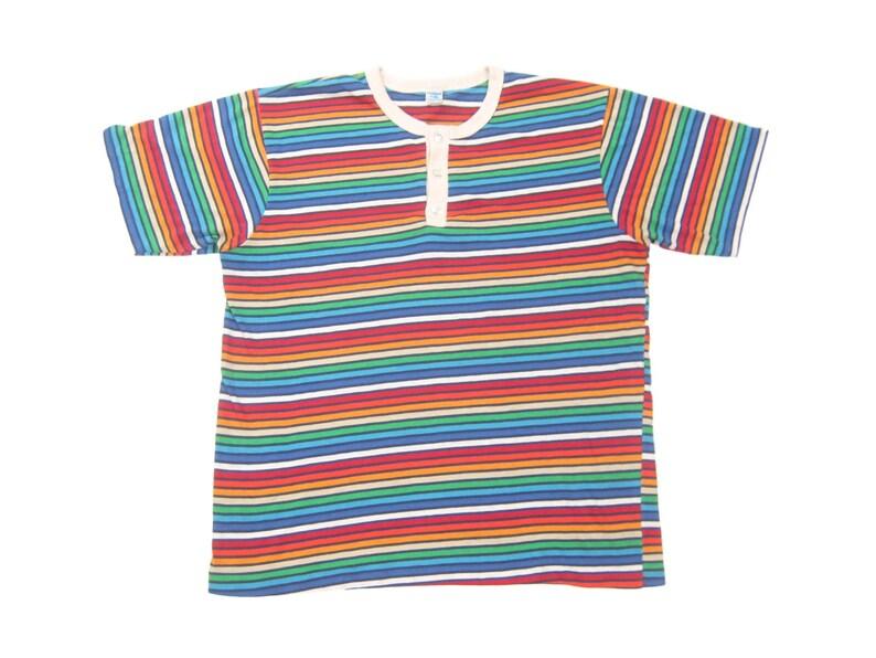 ed68dfff 1970s Rainbow Striped Surf Henley Tee Vintage Retro Stratford | Etsy