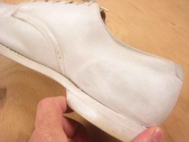 1940s USMC Dress White Shoes Vintage Mid Century WWII Men\u2019s Leather Oxford Shoes US Men\u2019s Size 7.58 Narrow