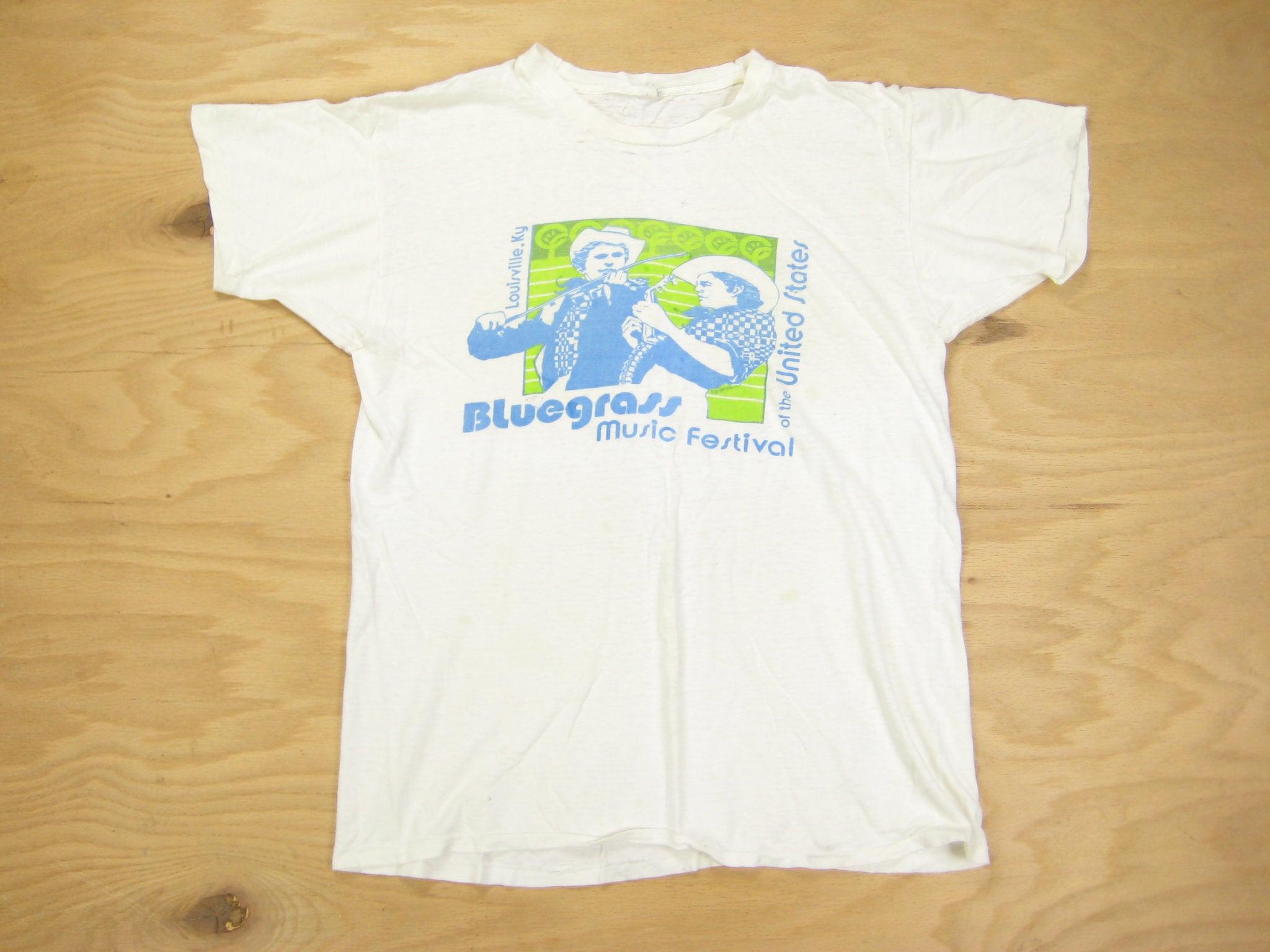 1970s Men's Shirt Styles – Vintage 70s Shirts for Guys 1970S Blue Grass Festival Tee Vintage Retro White 100 Cotton Derby Louisville Kentucky Music Distressed Graphic T Shirt MMedium $75.00 AT vintagedancer.com