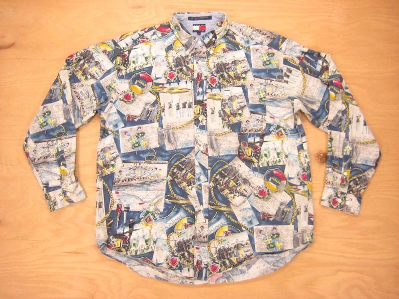d93f18868 Tommy Hilfiger Rowing Print Shirt Vintage Retro Oxford | Etsy