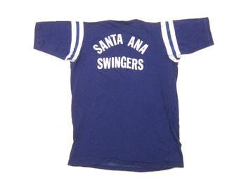 "1970s ""Santa Ana Swingers"" Durene Jersey Vintage Retro Men's Southern Athletic Screen Printed 4030 ""Jim"" Tee Shirt Small Medium S/M"