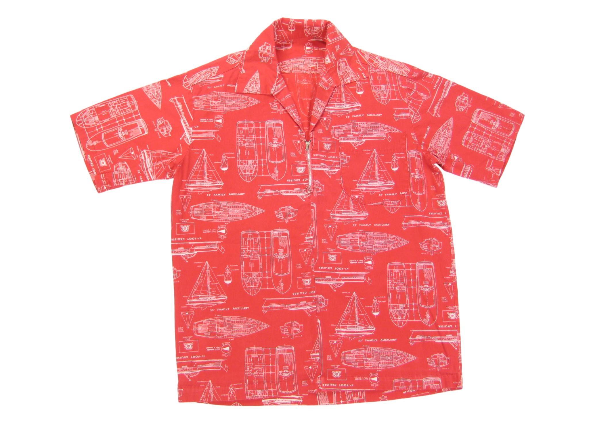 1960s – 70s Men's Ties | Skinny Ties, Slim Ties 1960S Sailboat Schematic Print Popover Shirt Vintage Retro Mens Homemade Cotton Half Zip Camp Collar Short Sleeve XsSSmall $75.00 AT vintagedancer.com