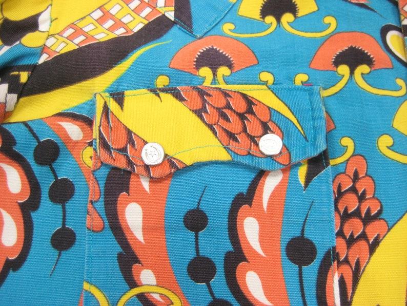 60s70s Psychedelic Print Canvas Western Shirt Vintage Retro Cotton Pearl Snap Cowboy Ranch Ranchwear Long Sleeve MMediumLLarge