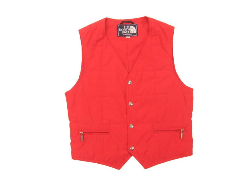 14d346643 1980s The North Face Snap Vest Vintage Retro Men's Bright Red Made in USA  Winter Sleeveless Ski Jacket Size XS/S Small