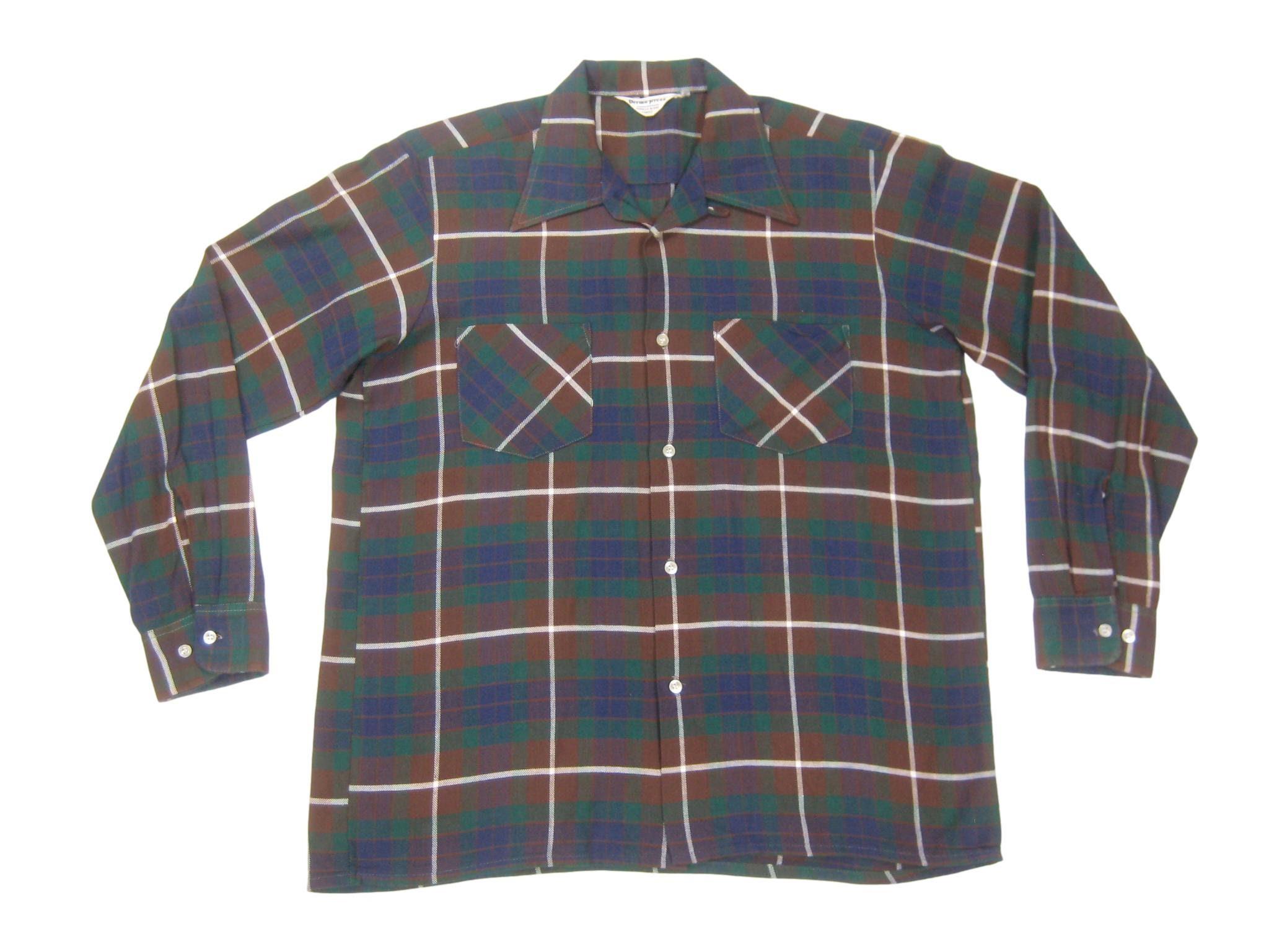 1960s – 70s Men's Ties | Skinny Ties, Slim Ties 1960S Loop Collar Sport Shirt Vintage Retro Mens Windowpane Check Plaid Long Sleeve Button Up MMediumLLarge $55.00 AT vintagedancer.com
