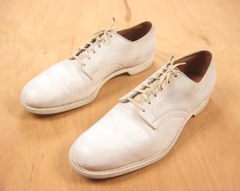 1940s USMC Dress White Shoes Vintage Mid Century WWII Men's Leather Oxford Shoes US Men's Size 7.5/8 Narrow