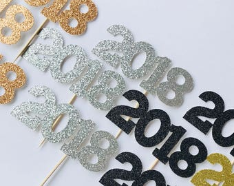 2018 Cupcake Toppers - New Years Decor - Cupcake Toppers - New Years Food Picks - Graduation Party Decor - Glitter Toppers