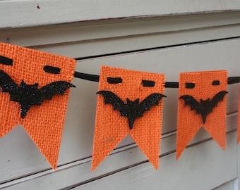 Burlap Halloween Banner - Bat Banner - Halloween Decor - Orange and Black - Bats