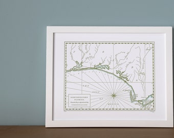 Northwestern Florida, Letterpress Printed Map
