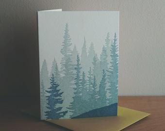 Pacific Northwest Eagle Kraft Paper Letterpress Greeting Card