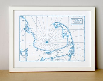 Cape Cod Bay and Seashore, Letterpress Map Art Print (Nautical Blue)