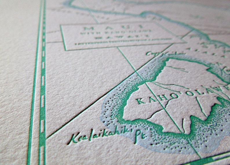 Hawaiian Islands Maui Letterpress Printed Map Light Blue