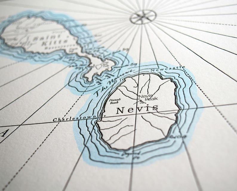 Saint Kitts and Nevis Letterpress Map Print