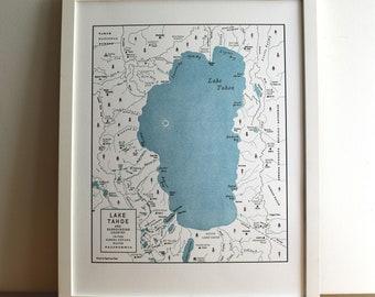 Lake Tahoe Basin, Squaw Valley to South Lake Tahoe, Letterpress Printed Map