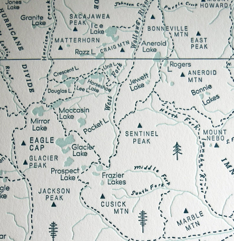 Eagle Cap Wilderness in the Wallowa Mountains, Oregon, Letterpress Map Print