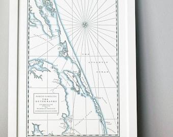 Outer Banks, Letterpress Map Print (Dark Grey)