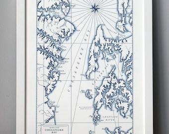 Chesapeake Bay, Maryland, Letterpress Map Art Print (Navy)
