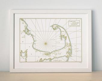 Cape Cod Bay and Seashore, Letterpress printed map (Mustard)