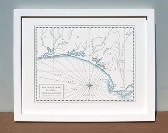 Northwestern Florida, Letterpress Printed Map (Dark grey)