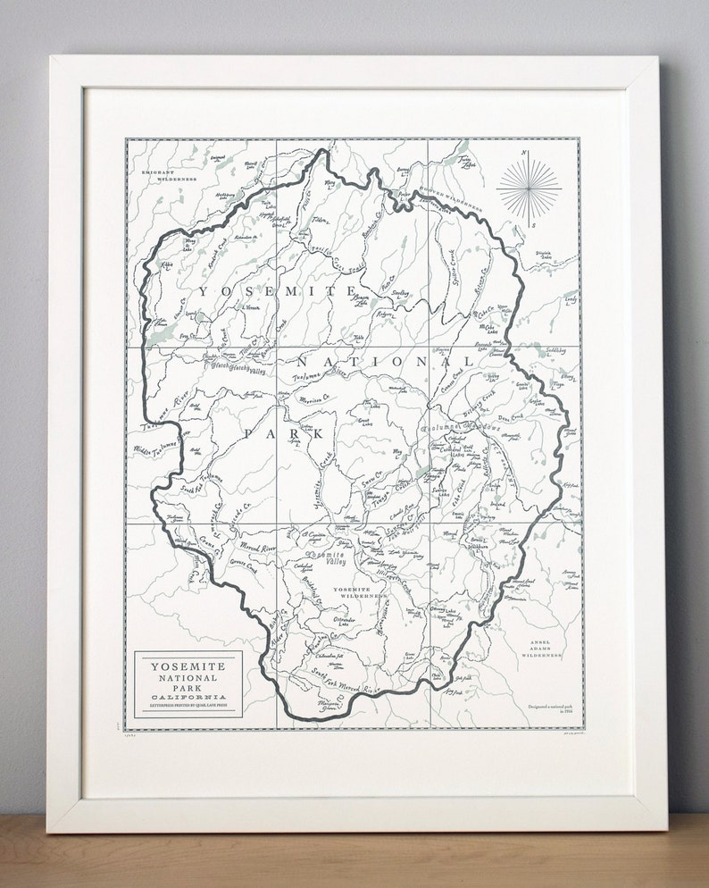 Yosemite National Park Letterpress Map Wall Art Print image 0