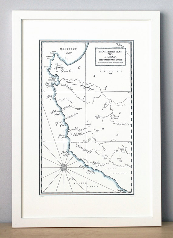 Monterey Bay To Big Sur California Coast Letterpress Map Print Etsy