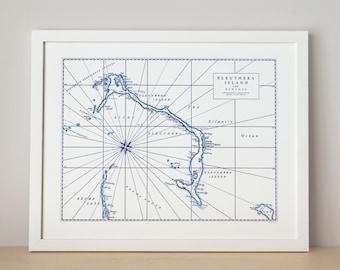 Eleuthera, Bahamas, Letterpress Map Art Print (Navy)