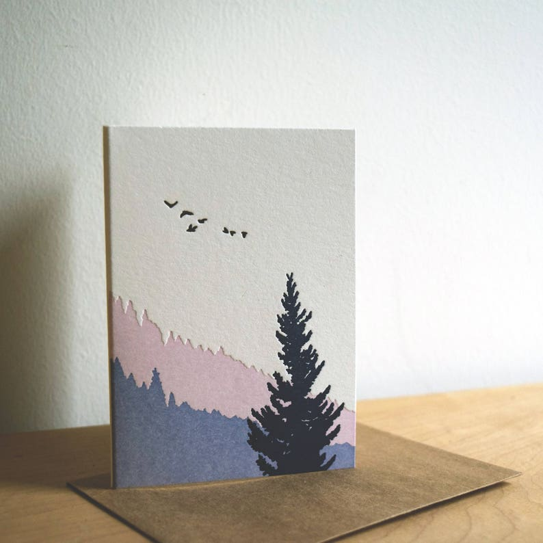 Pack of 5 Forest Sunrise Letterpress Card