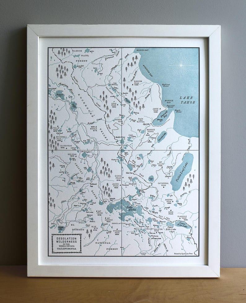 Desolation Wilderness Lake Tahoe Map Letterpress Art Print | Etsy on