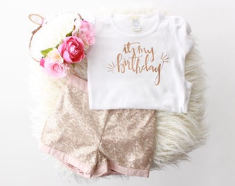 """Rose Gold """"It's my birthday"""" girl fit t-shirt or bodysuit   birthday girl shirt   rose gold birthday   pink and gold birthday   1st birthday"""