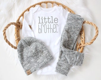 Brushed Grey 3 piece little brother outfit | cute little brother | baby boy outfit | bringing home baby outfit | it's a boy | cute baby