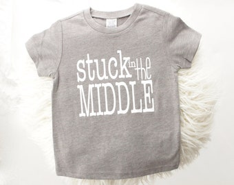 Middle brother t-shirt gray and white | stuck in the middler | brother shirt | new brother | big brother gift | pregnancy announcement |