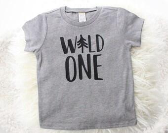 "Grey and black ""wild one"" t-shirt | birthday shirt | lumberjack birthday | wild one birthday | outdoors birthday | 1 st birthday boy shirt |"