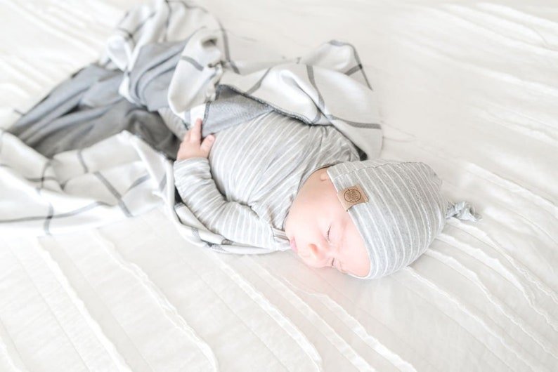 6858e8793d9b Knot baby gown gender neutral driftwood grey knot gown