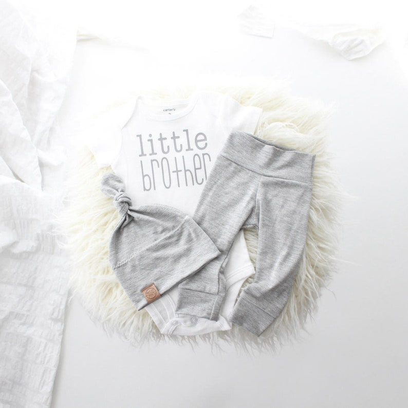 d6eb0355f975 Little brother newborn outfit light weight grey cute