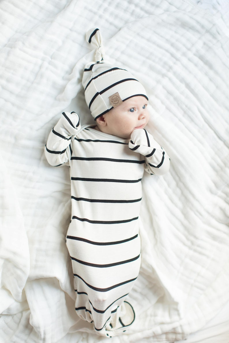 44a295ad9adc Knot baby gown black   soft cream stripe knot gown newborn