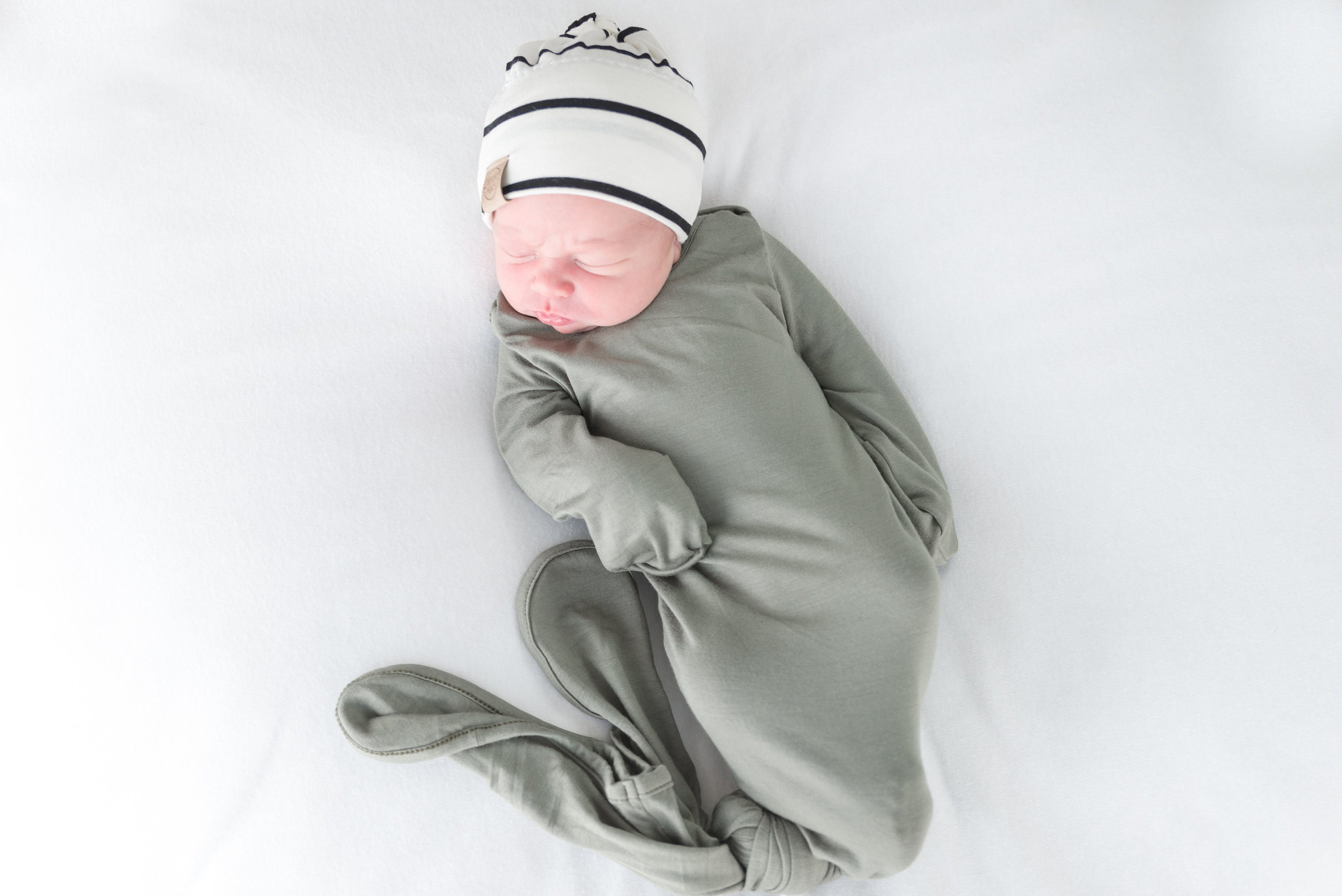 ad721b3d0d54 Knot baby gown gender neutral sage green knot gown newborn