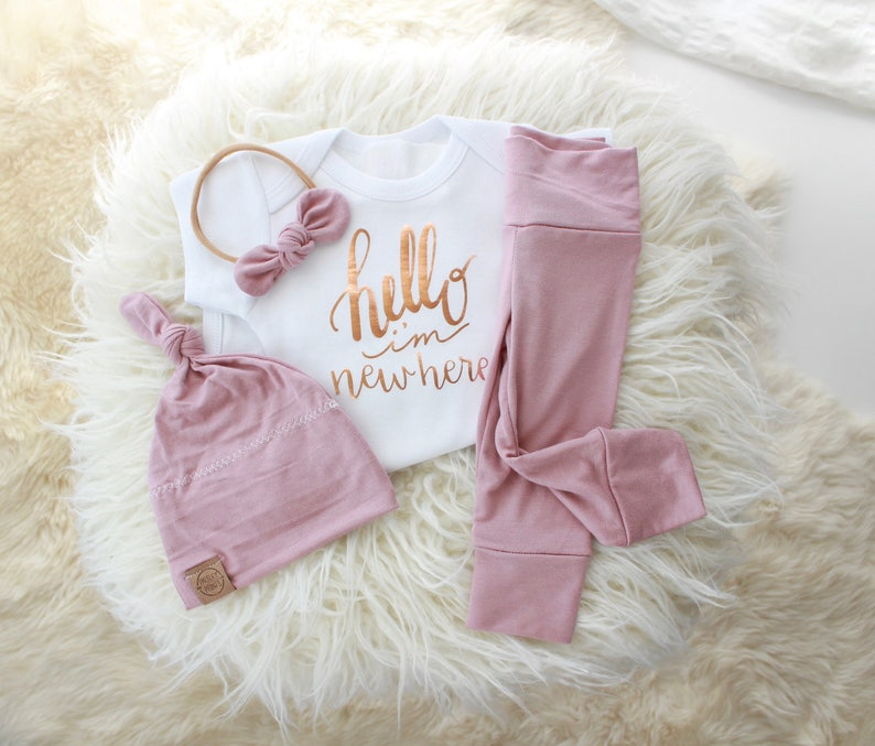 677b724a8f87 Rose gold and mauve bringing home baby girl outfit girl