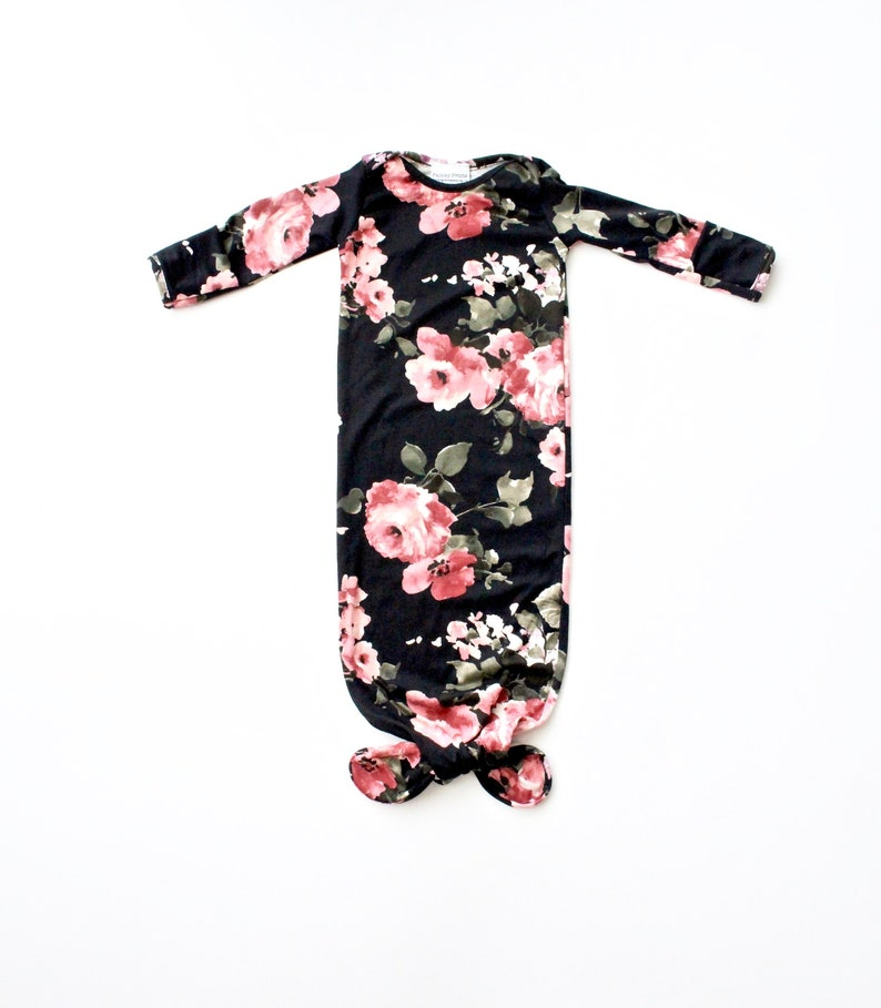 e83fef3185e2 Knot baby gown black floral knot gown newborn baby clothes