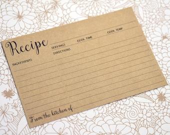 Kraft Recipe Cards - 4x6 Printed Light Brown Recipe Card - Rustic Wedding Favors, Housewarming Gift, Mom Gift, Bridal Shower Recipe Cards