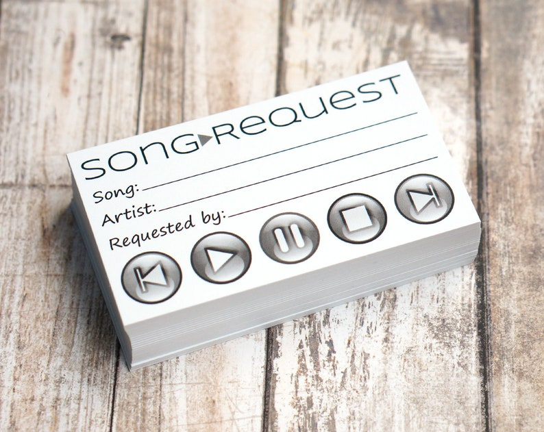 Song Request Cards - Play Song at Wedding Reception, Prom, Dance Party,  Band, DJ, Music - Pack of 50