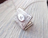Personalized Locket Necklace, Silver Book Locket with Initial, Personalized Necklace, Miniature Book Necklace, Engraved, Graduation Gift