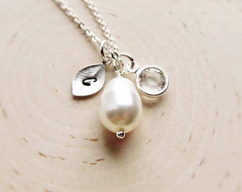Teardrop Pearl Necklace with Initial and Crystal in Silver, Personalized Bridesmaid Gift, Bridal Party Jewelry, Rhinestone Drop for Wedding
