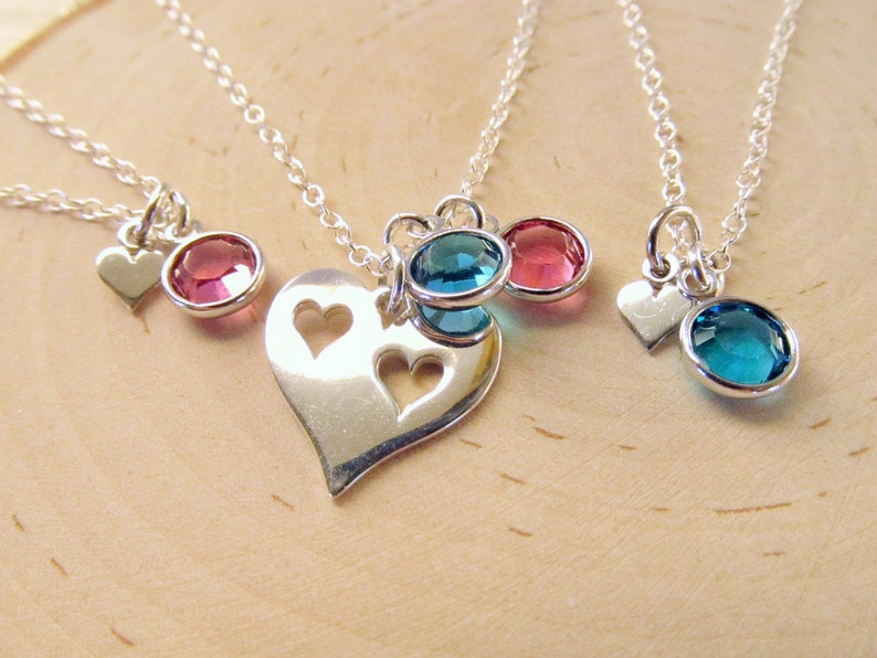 Mom and Daughters Personalized Sterling Silver Heart Necklace Set of 3 Mother Daughter Necklaces with Birthstones Mother Daughters Gift